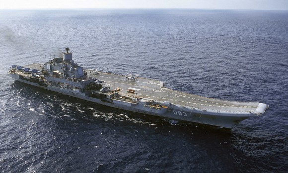 In this file photo, Admiral Kuznetsov carrier sails in the Barents Sea, Russia (AP Photo)