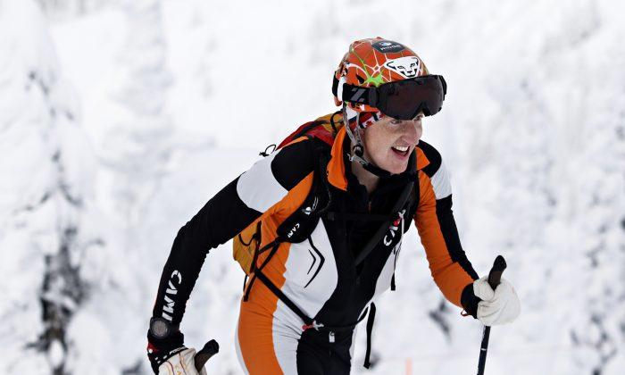 Ben Parsons competes in the Whitefish Whiteout at Whitefish Mountain Resort in Whitefish, Mont., on  Jan. 16, 2016. (Greg Lindstrom/Flathead Beacon via AP)