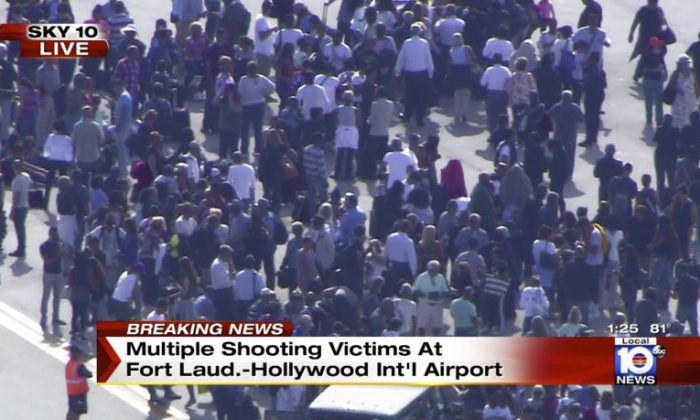 The gunman in the Fort Lauderdale airport shooting that left at least five people dead has been identified in media reports as Esteban Santiago.  (NBC TV Local10 via AP)