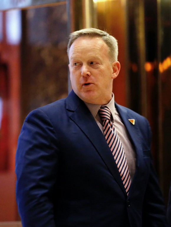 Sean Spicer, incoming press secretary for President-elect Donald Trump leaves from Trump Tower after meetings in New York on Jan. 5, 2017. (KENA BETANCUR/AFP/Getty Images)
