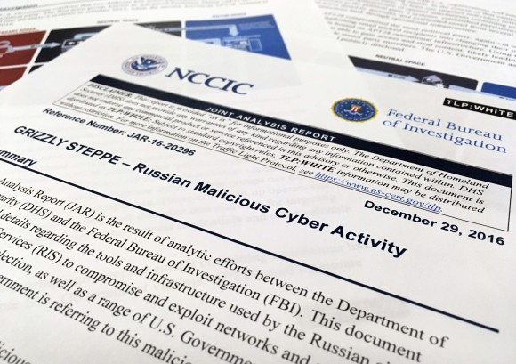 The first page of the Joint Analysis Report narrative by the Department of Homeland Security and federal Bureau of Investigation and released on Dec. 29, 2016 in Washington on Jan. 6, 2017. (AP Photo/Jon Elswick)