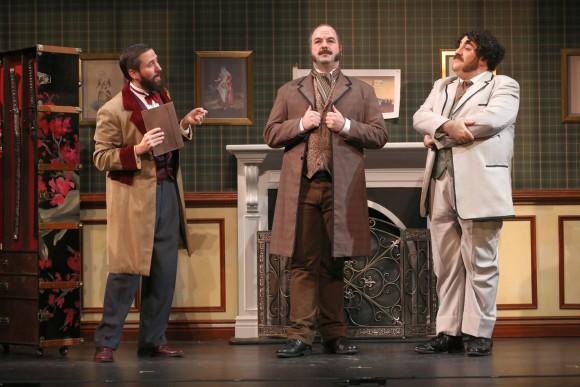L to R: Andy Herr as Richard D'Oyly Carte, Chris Vaughn as W.S. Gilbert, Adam B. Shapiro as Arthur Sullivan in the prologue. ( Carol Rosegg)