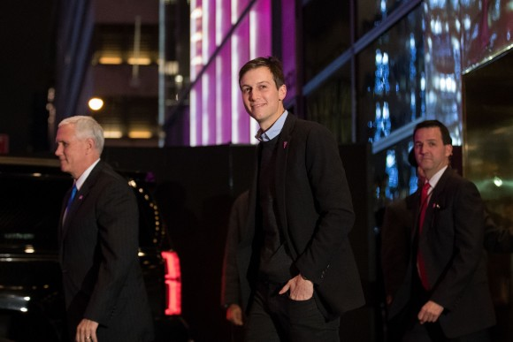 (L to R) Vice President-elect Mike Pence and Jared Kushner exit Trump Tower in New York City on Dec. 7, 2016. President-elect Donald Trump and his transition team are in the process of filling cabinet and other high level positions for the new administration. (Drew Angerer/Getty Images)