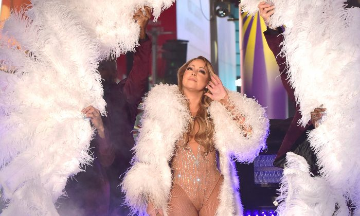 Mariah Carey performs during the New Year's Eve Countdown at Times Square in New York City on Dec. 31, 2016.  (Eugene Gologursky/Getty Images for TOSHIBA CORPORATION)