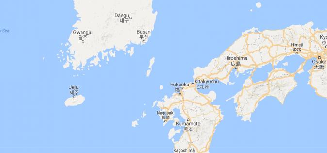 The Tsushima Strait (Google Maps)