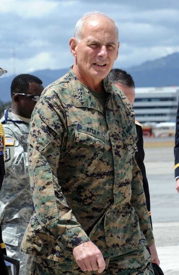 The commander of the US Southern Command, General John Kelly (C) arrives at the Guatemalan Air Force base in Guatemala City on March 2, 2015.  (JOHAN ORDONEZ/AFP/Getty Images)