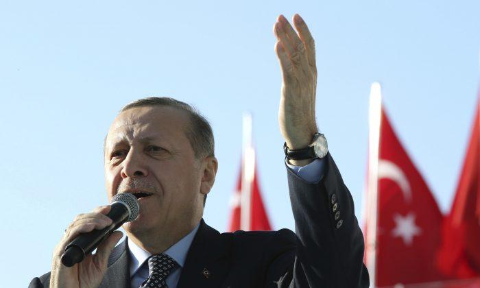 Turkey's President Recep Tayyip Erdogan addresses a rally in Sanliurfa, Turkey, on, Jan. 6. (Yasin Bulbul/Presidential Press Service, Pool photo via AP)