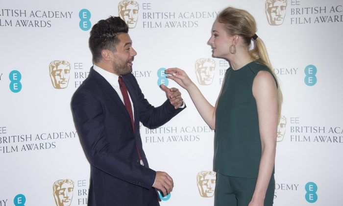 Actors Sophie Turner, right, and Dominic Cooper speak with each other before they pose for photographers after announcing the nominations for the EE British Academy Film Awards in 2017 at a photo call at BAFTA headquarters in central London, on Jan. 10, 2017. (Photo by Joel Ryan/Invision/AP)