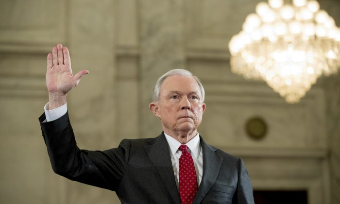 Attorney General-designate, Sen. Jeff Sessions, R-Ala. is sworn in on Capitol Hill in Washington on Jan. 10, 2017, prior to testifying at his confirmation hearing before the Senate Judiciary Committee. (AP Photo/Andrew Harnik)