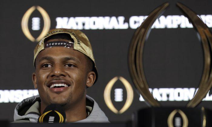 Clemson quarterback Deshaun Watson smiles during an NCAA college football news conference in Tampa, Fla., on Jan. 10, 2017. (AP Photo/Chris O'Meara)