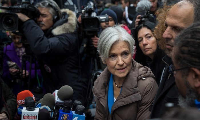 Green Party presidential candidate Jill Stein speaks at a news conference on Fifth Avenue across the street from Trump Tower December 5, 2016 in New York City. Stein, who has launched recount efforts in Michigan and Wisconsin, spoke about demanding a statewide recount on constitutional grounds in Pennsylvania.  (Photo by Drew Angerer/Getty Images)