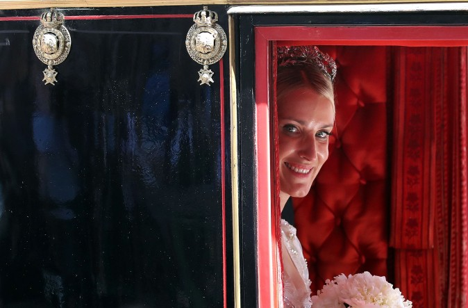 Ekaterina of Hanover in a carriage after her church wedding ceremony in Hanover, central Germany, on July 8, 2017. Prince Ernst August of Hanover did not give in to the injunctions of his father and married his fiancee Ekaterina Malysheva, a fashion designer of Russian origin. (RONNY HARTMANN/AFP/Getty Images)