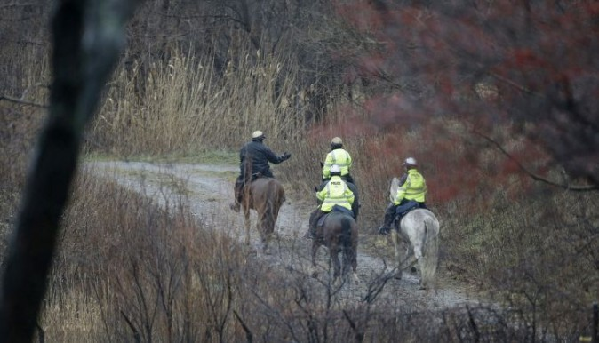 Members of the Cleveland Police Mounted Unit ride the Lake Erie shoreline, Tuesday, Jan. 3, 2017, in Cleveland. Cleveland officials say the search for a plane carrying six people that disappeared last week over Lake Erie has resumed. Tuesday marks the third straight day that conditions have allowed recovery teams to search the lake for a Columbus-bound Cessna 525 Citation that vanished from radar shortly after takeoff Thursday night from Burke Lakefront Airport. (AP Photo/Tony Dejak)