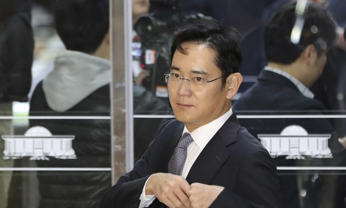 In this file photo, Lee Jae-yong, a vice chairman of Samsung Electronics Co., arrives for a hearing at the National Assembly in Seoul, South Korea. (AP Photo/Lee Jin-man, File)