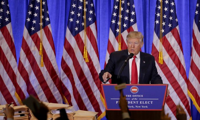 President-elect Donald Trump takes questions from members of the media during a news conference in New York on Jan. 11, 2017. (AP Photo/Seth Wenig)