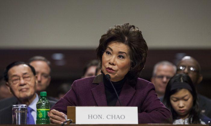 Transportation Secretary-designate Elaine Chao testifies on Capitol Hill in Washington on Jan. 11, 2017.  (AP Photo/Zach Gibson)