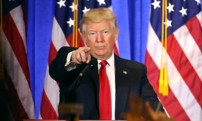 President Donald Trump speaks at a news cenference at Trump Tower in New York City on Jan. 11, 2017. (Spencer Platt/Getty Images)