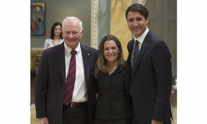 New Minister of Foreign Affairs Chrystia Freeland with Prime Minister Justin Trudeau and Gov. Gen. David Johnston at Rideau Hall in Ottawa on Jan. 10, 2017. (The Canadian Press/Adrian Wyld)