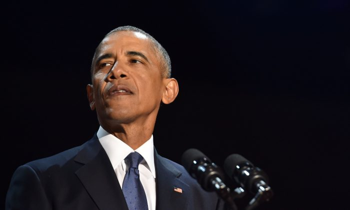 US President Barack Obama speaks during his farewell address in Chicago, Illinois on January 10, 2017. Barack Obama closes the book on his presidency, with a farewell speech in Chicago that will try to lift supporters shaken by Donald Trump's shock election. (NICHOLAS KAMM/AFP/Getty Images)