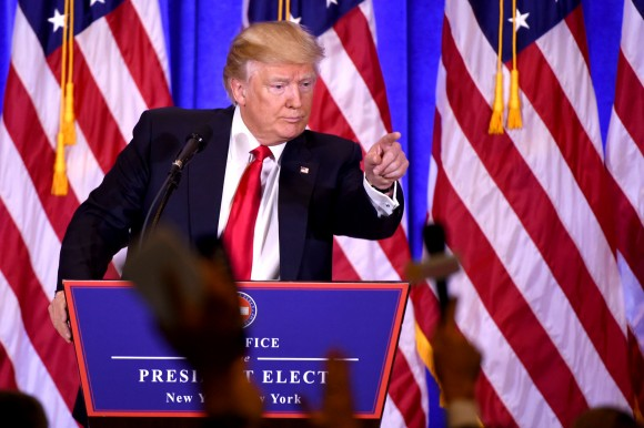 US President-elect Donald Trump gives a press conference in New York on Jan. 11, 2017. Donald Trump held his first news conference in nearly six months Wednesday, amid explosive and unfounded allegations regarding ties to Russia, a little more than a week before his inauguration. (DON EMMERT/AFP/Getty Images)