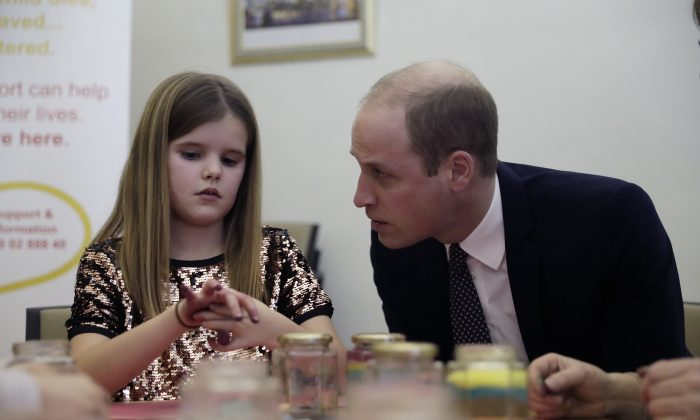 Britain's Prince William speaks with Aoife, 9, during his visit to a Child Bereavement UK Centre in Stratford in east Londo on, Jan. 11, 2017. (AP Photo/Matt Dunham, Pool)