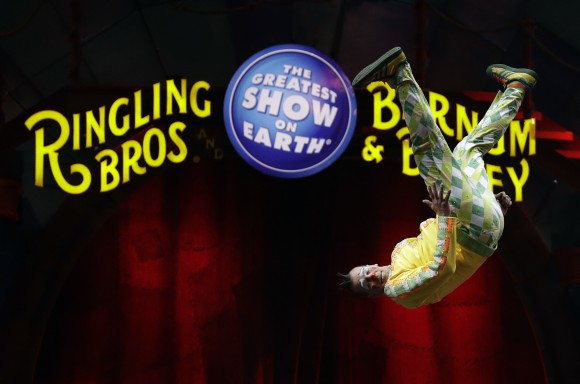 A Ringling Bros. and Barnum & Bailey clown does a somersault during a performance in Orlando, Fla., on Jan. 14, 2017. (AP Photo/Chris O'Meara)