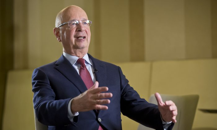 President and Founder of the World Economic Forum, Klaus Schwab, during an interview with The Associated Press in Davos, Switzerland on Jan. 15, 2017. (AP Photo/Michel Euler)