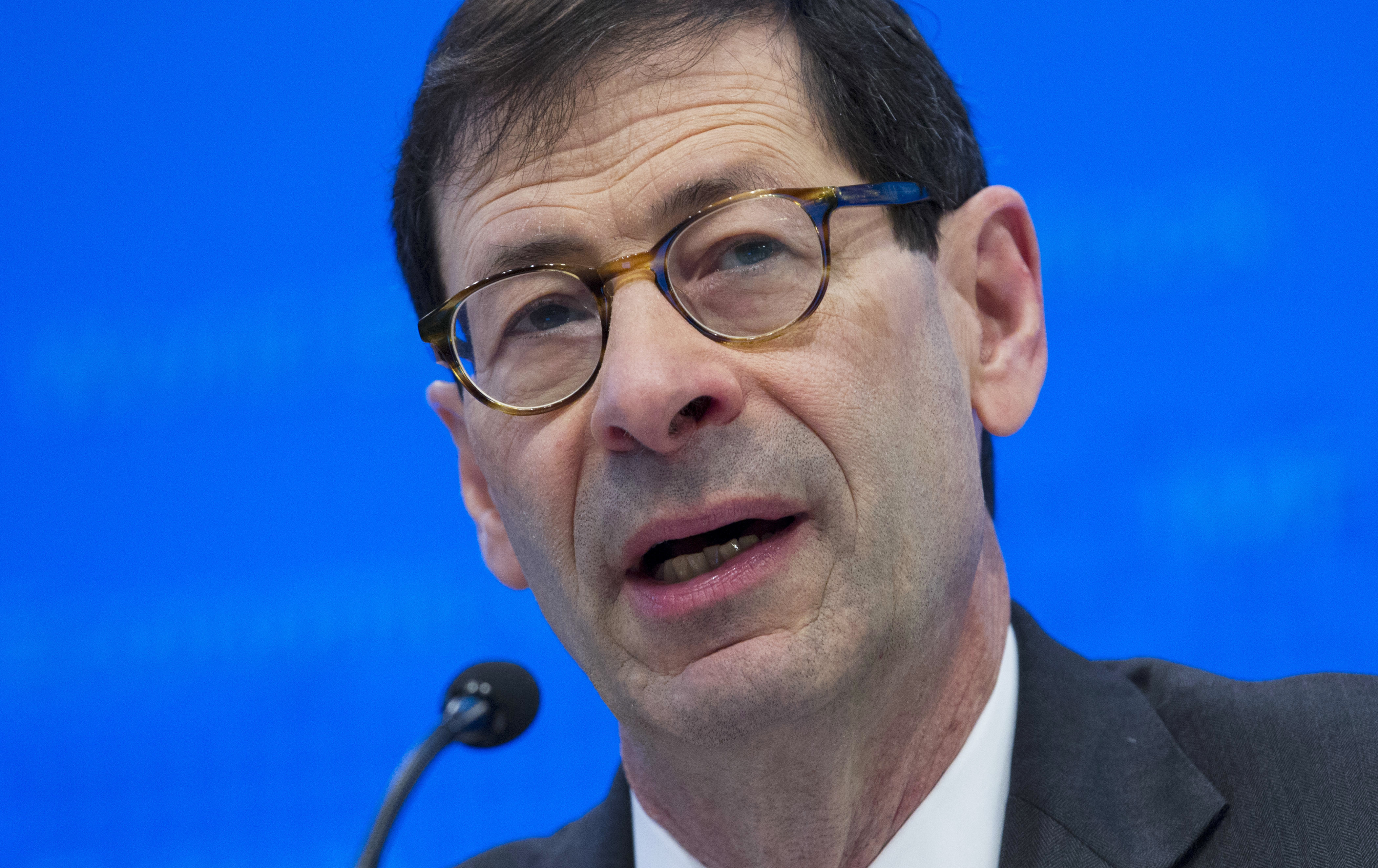 International Monetary Fund Economic Counsellor Maurice Obstfeld  at a news conference during the World Bank/IMF Annual Meetings, at IMF headquarters in Washington. (AP Photo/Jose Luis Magana)