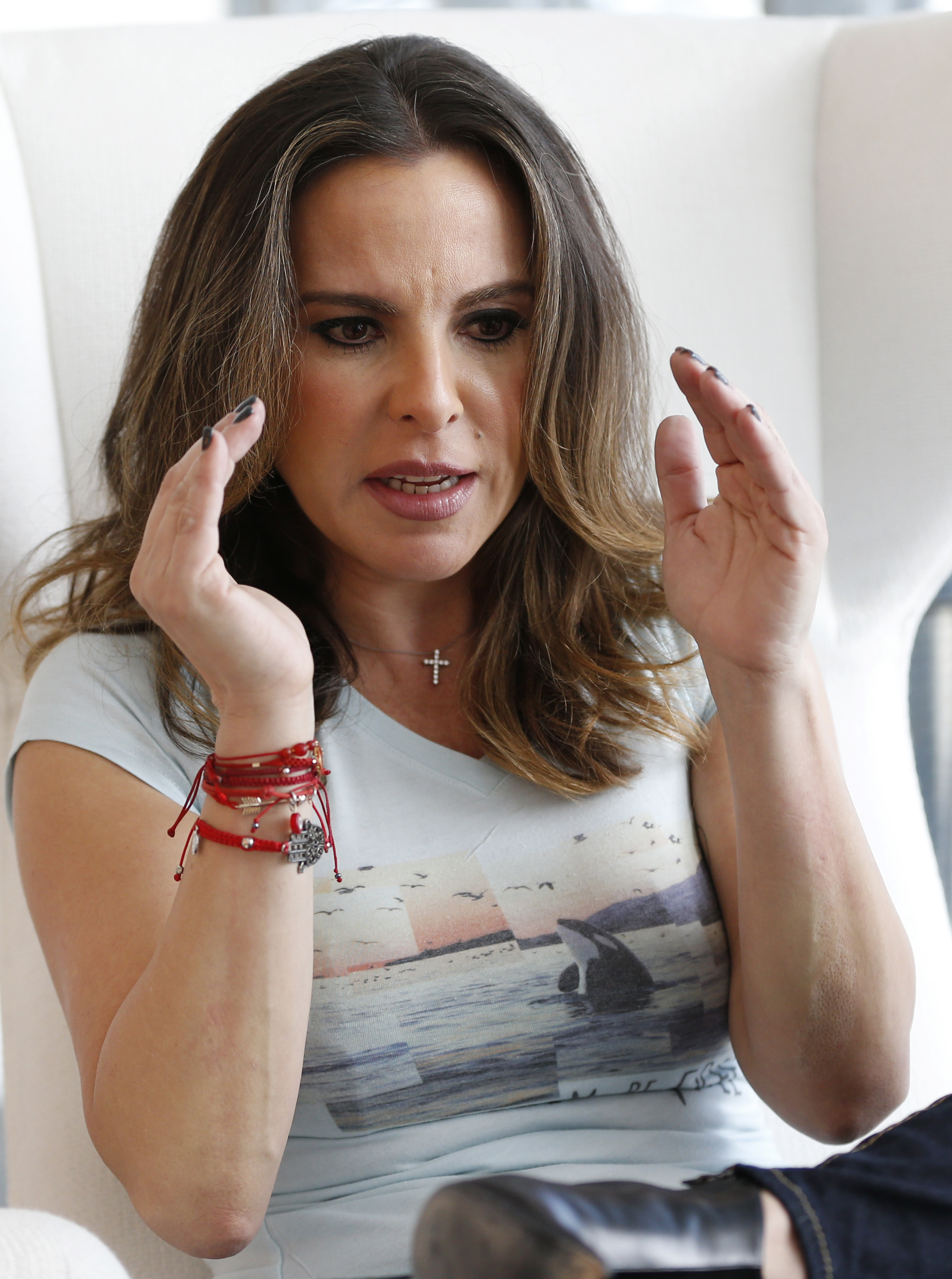 Mexican actress Kate del Castillo during an interview with The Associated Press in Miami on Jan. 16, 2017. (AP Photo/Wilfredo Lee)