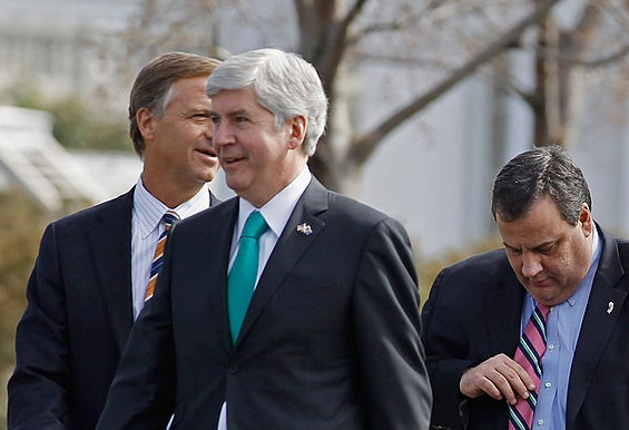 Members of the National Governors Association (L-R) Tennessee Gov. Bill Haslam, Michigan Gov. Rick Snyder   and New Jersey Gov. Chris Christie leave the White House after a meeting with President Barack Obama in Washington, DC., on Feb. 27, 2012. (Chip Somodevilla/Getty Images)