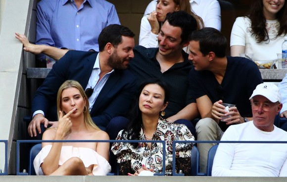 (L-R) Ivanka Trump, Wendi Deng and David Geffen attend the Men's Singles Final Match between Novak Djokovic of Serbia and Stan Wawrinka of Switzerland on Day Fourteen of the 2016 US Open at the USTA Billie Jean King National Tennis Center in the Flushing neighborhood of the Queens borough of New York City on Sept. 11, 2016.  (Michael Heiman/Getty Images)