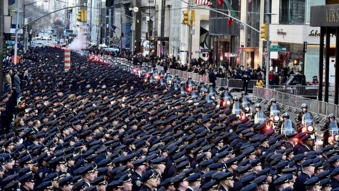 NYPD Detective Steven McDonald funeral procession, Fifth Avenue, NYC, Jan. 13, 2017. (Courtesy NYPD News)