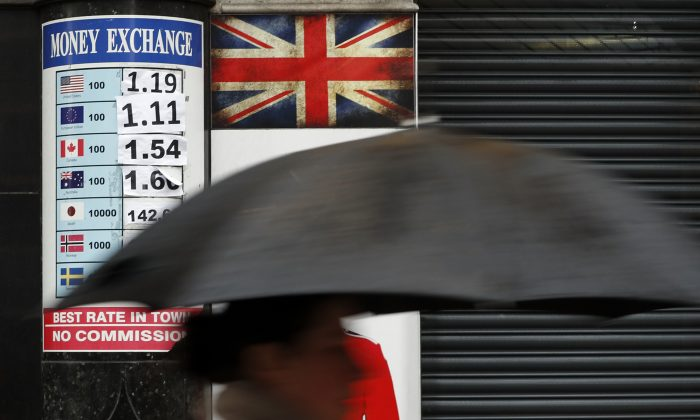 A pedestrian with an umbrella passes a board showing the exchange rates at a money exchange bureau in London on Jan. 16, 2017. (AP Photo/Kirsty Wigglesworth)