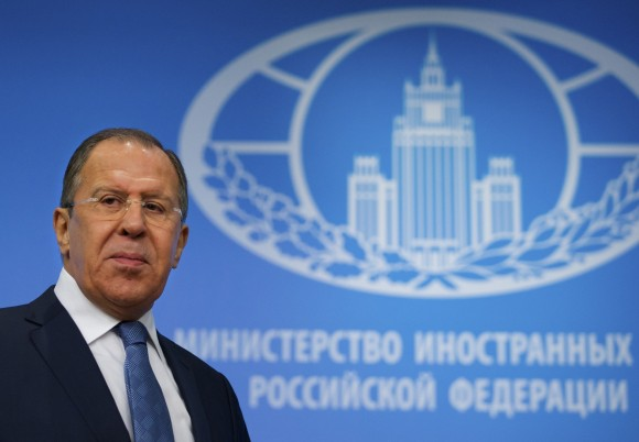 """Russian Foreign Minister Sergey Lavrov arrives for his news conference in Moscow, Russia, on Jan. 17, 2017. Moscow hopes for better ties with the United State based on respect for mutual interests once Donald Trump takes office, in contrast with a """"messianic"""" approach of the outgoing administration that has ravaged ties, Russian foreign minister said Tuesday. (AP Photo/Ivan Sekretarev)"""