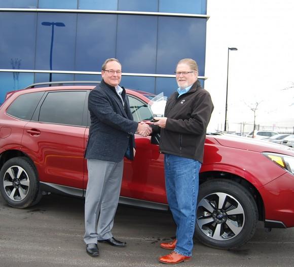 (Left: Ted Lalka, vice president, Product Management, Marketing & Customer Experience, Subaru Canada Inc., Right: David Taylor, CCOTY Committee) (David Taylor)