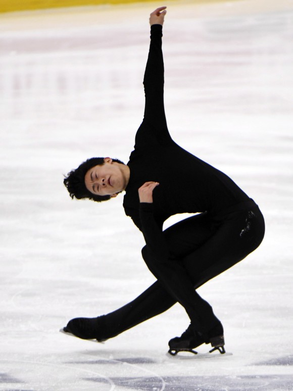 In this file photo, Nathan Chen of the United States, performs during the men's free skating program at the Finlandia Trophy figure skating competition in Espoo, Finland. (Martti Kainulainen/Lehtikuva via AP)