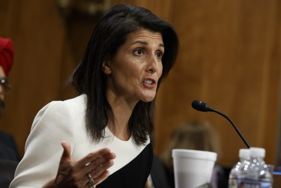 UN Ambassador-designate, South Carolina Gov. Nikki Haley testifies on Capitol Hill in Washington, Wednesday, Jan. 18, 2017, at her conformation hearing before the Senate Foreign Relations Committee. (AP Photo/Evan Vucci)