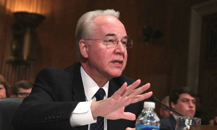U.S. Health and Human Services Secretary Nominee Rep. Tom Price (R-GA) testifies during his confirmation hearing on Capitol Hill in Washington, DC. on Jan. 17, 2017. (Alex Wong/Getty Images)