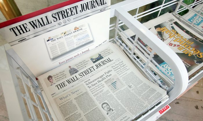 The Wall Street Journal newspaper at a newsstand in the Chicago Board of Trade building in Chicago, Illinois, U.S. in this file photo. (Scott Olson/Getty Images)