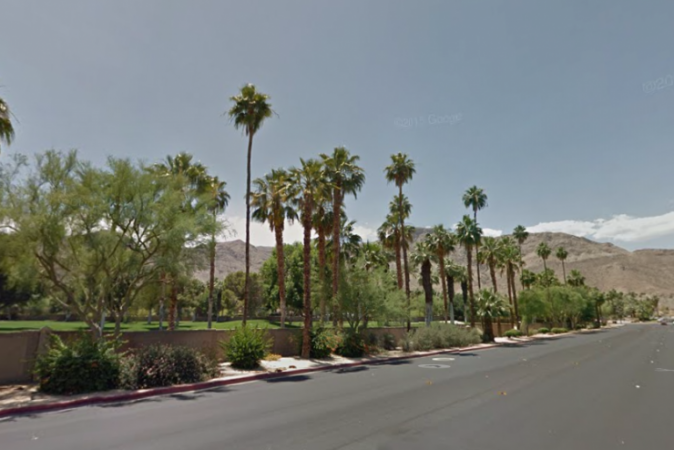 A screenshot shows a street in Rancho Mirage (Note: This isn't where the Obama home is located) (Google Maps)