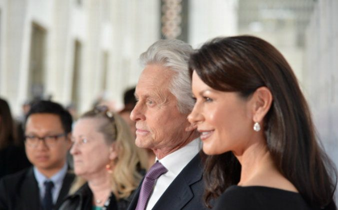 Actors Michael Douglas (L) and Catherine Zeta-Jones attend the 41st Annual Chaplin Award Gala at Avery Fisher Hall at Lincoln Center for the Performing Arts on April 28, 2014 in New York City. (Andrew H. Walker/Getty Images)