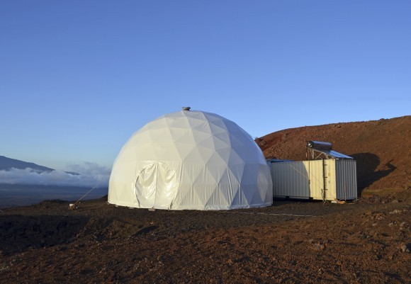 Domed structure that will house six researchers for eight months in an environment meant to simulate an expedition to Mars, on Mauna Loa on the Big Island of Hawaii, on April 25, 2013. (Sian Proctor/University of Hawaii via AP)