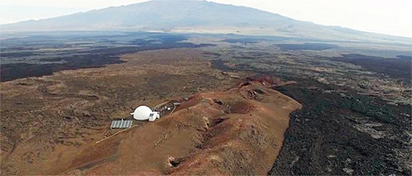 Domed structure that will house six researchers for eight months in an environment meant to simulate an expedition to Mars, on Mauna Loa on the Big Island of Hawaii on April 25, 2013. (Sian Proctor/University of Hawaii via AP)