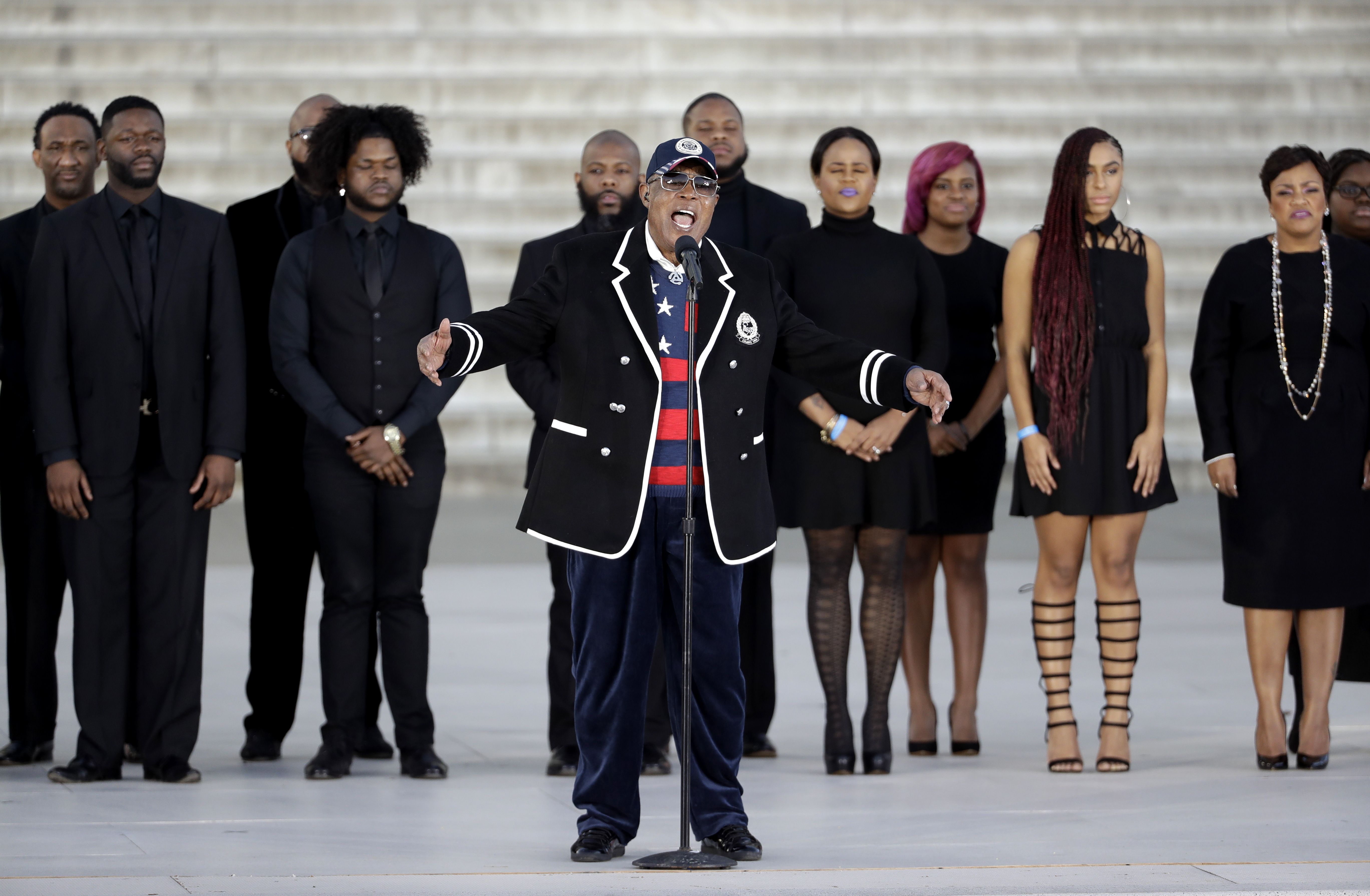 """Singer Sam Moore performs during a pre-Inaugural """"Make America Great Again! Welcome Celebration"""" at the Lincoln Memorial in Washington on Jan. 19, 2017. (AP Photo/David J. Phillip)"""