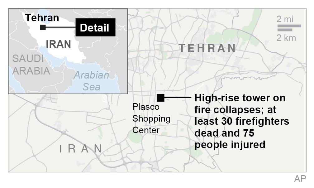 Map locates Plasco building in Tehran, Iran (Via AP)