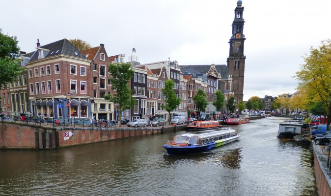 One of Amsterdam's many canals, with the West Church cathedral, built in 1631, on the right. (Manos Angelakis)