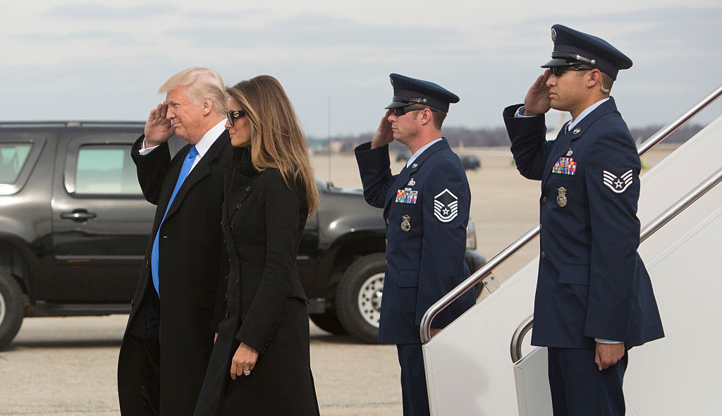 President-elect of The United States Donald J. Trump and first Lady-elect Melania Trump arrive at Joint Base Andrews the day before his swearing in in Maryland on Jan. 19, 2017. (Chris Kleponis-Pool/Getty Images)