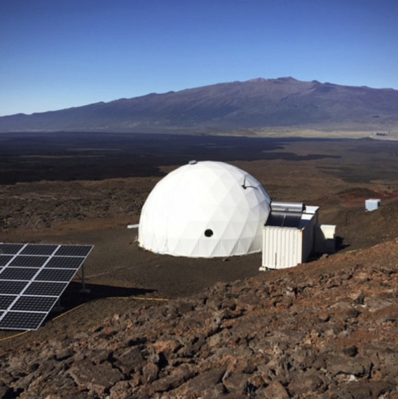 In this photo provided by the University of Hawaii, six carefully selected scientists entered this geodesic dome called Hawaii Space Exploration Analog and Simulation, or HI-SEAS located 8,200 feet above sea level on Mauna Loa on the island of Hawaii, on Jan. 19, 2017. (University of Hawaii via AP)