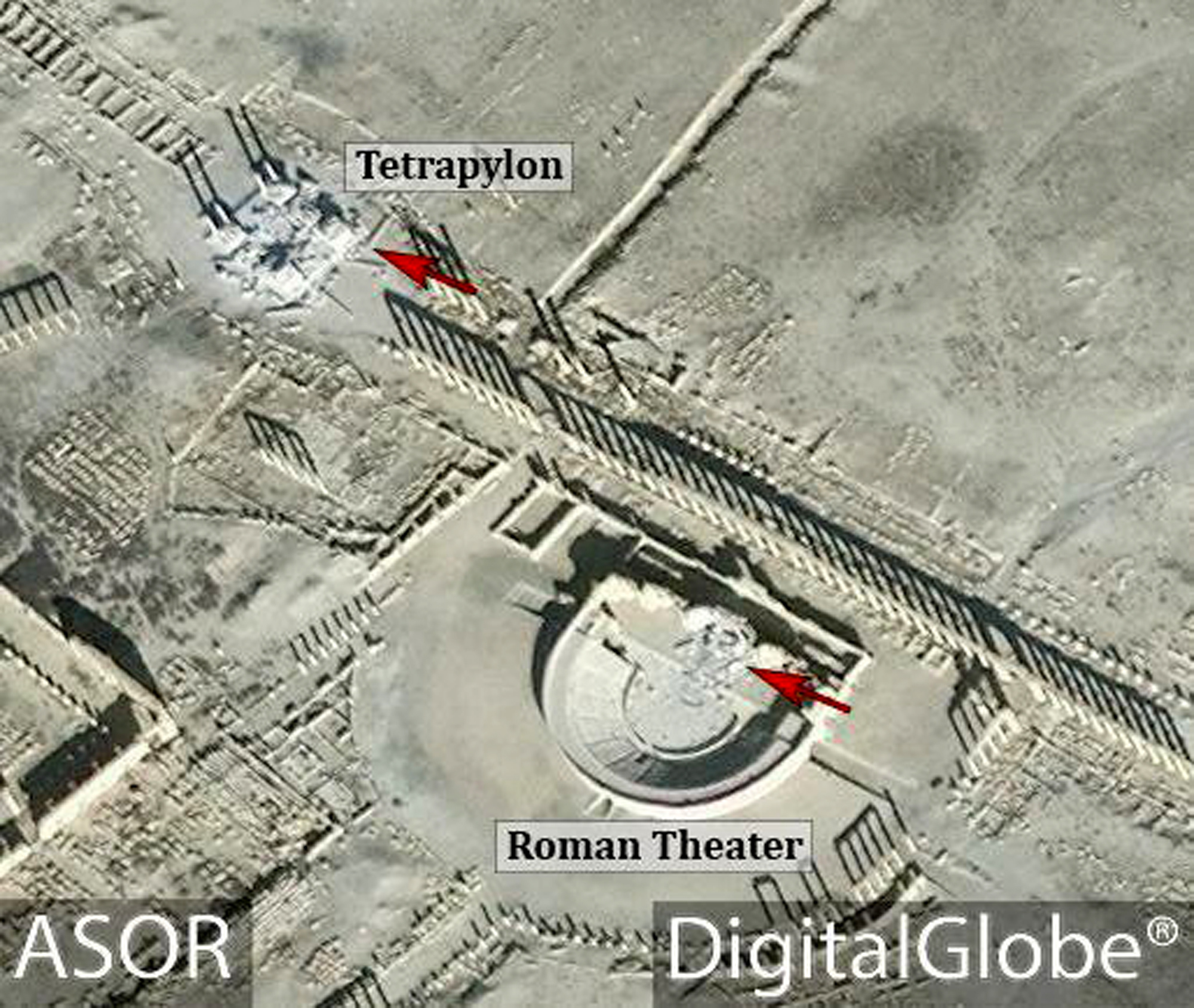 This satellite image released by the American Schools of Oriental Research (ASOR) on Friday, Jan. 20, 2017 as captured by DigitalGlobe shows the Roman theater at the UNESCO World Heritage Site of Palmyra, Syria with red denoting area of new damages on Jan. 10, 2017. (ASOR/ DigitalGlobe via AP)