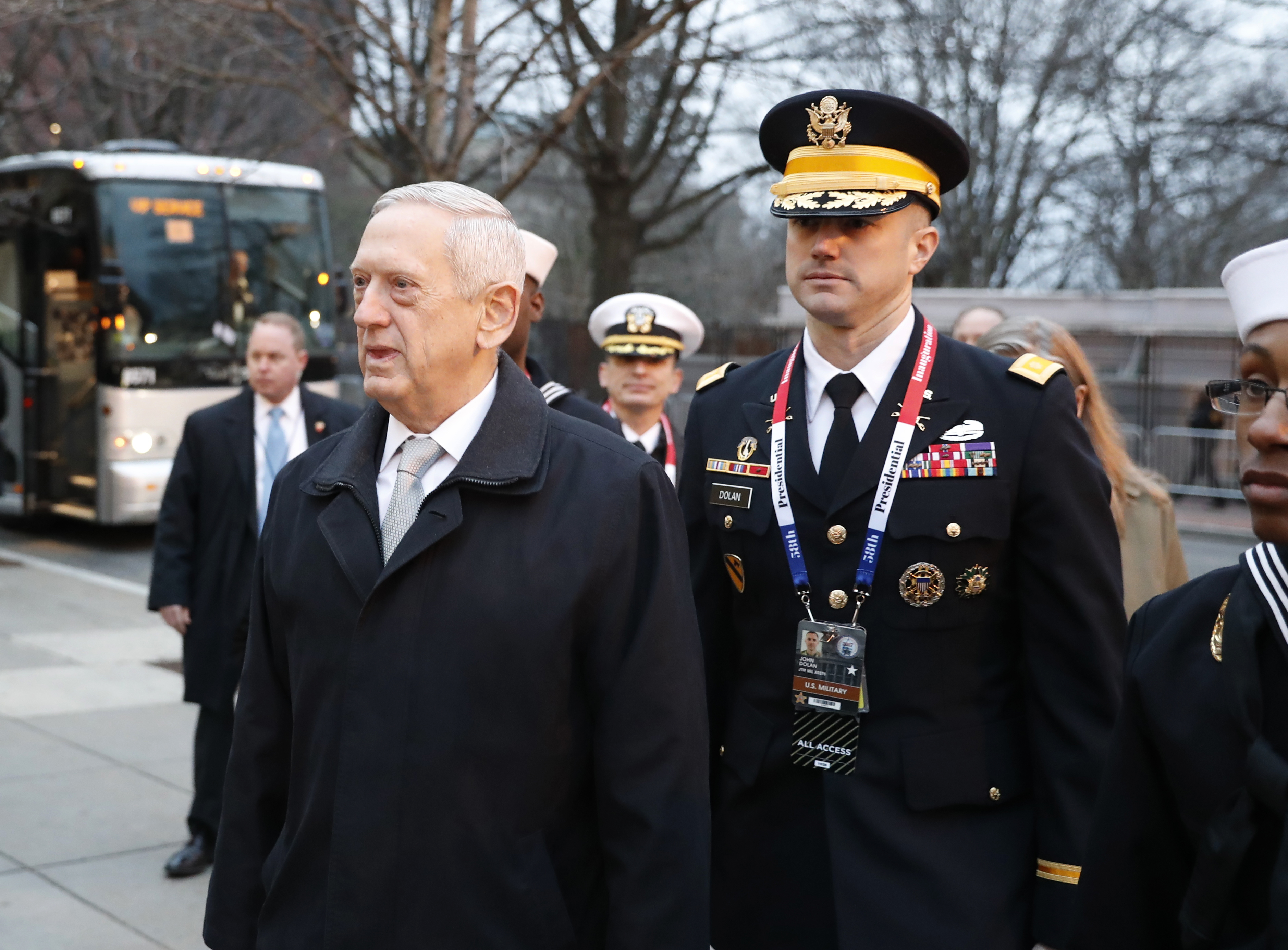 Defense Secretary-designate James Mattis arrives for church service at St. John's Episcopal Church across from the White House in Washington on Jan. 20, 2017, on Donald Trump's inauguration day. (AP Photo/Alex Brandon)